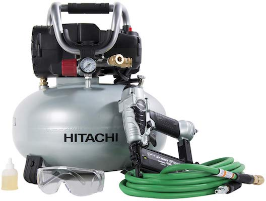 Hitachi KNT50AB Brad Nailer and Compressor Combo Kit, 6 Gallon Pancake Air Tank