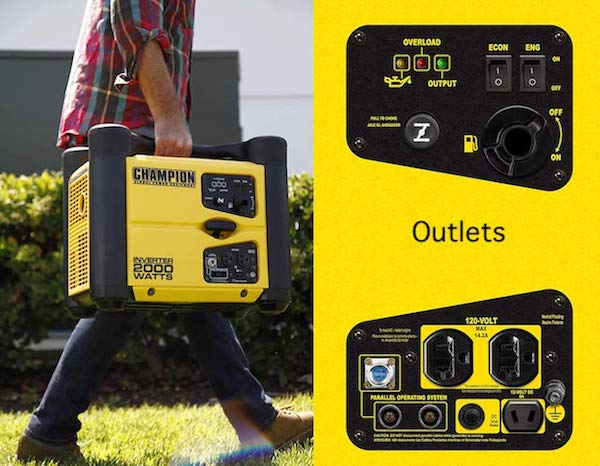 Champion 73536i 2000 watt inverter generator easy to carry and outlets