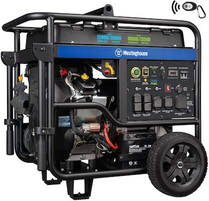 Westinghouse WGen12000DF Ultra Duty Portable Generator - 12000 Rated Watts & 15000 Peak Watts - Dual Fuel - Electric Start - Transfer Switch & RV